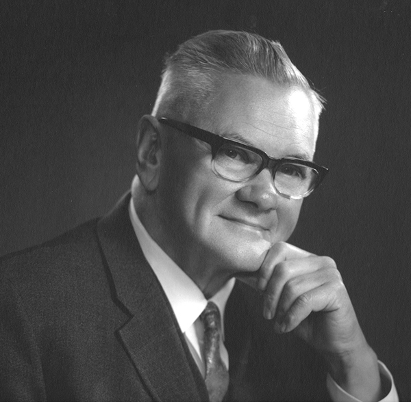 Black and white portrait of the CFPC's first executive director, Dr. W. Victor Johnston