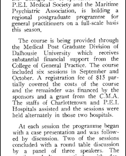 PEI Chapter holds regional postgraduate program, 1959