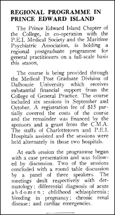 La section de l'IPÉ organise un programme régional de formation postdoctorale, 1959