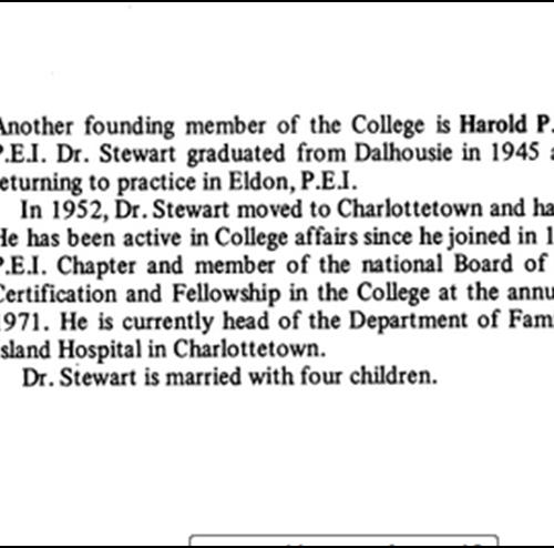 Profile on founding member Dr H. P. Stewart