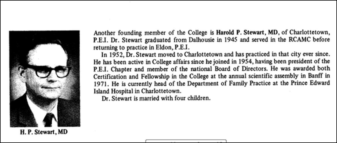 Profil d'un membre fondateur, Dr H. P. Stewart