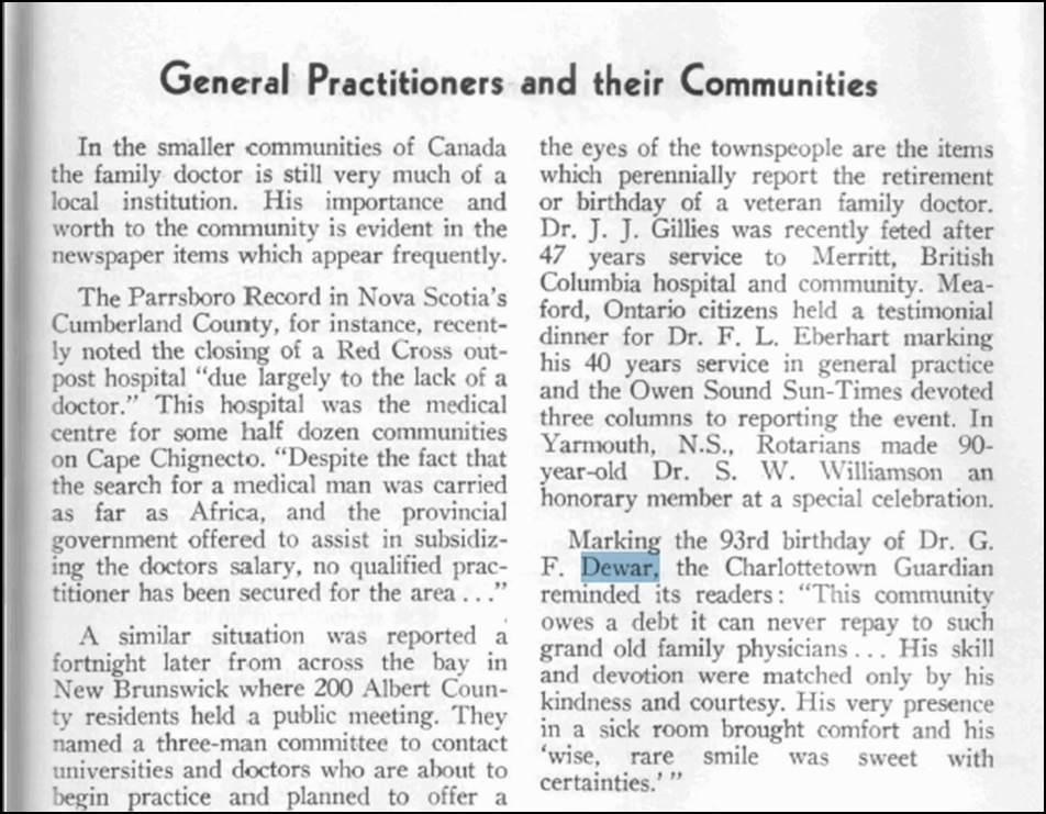 Profil de Dr G. F. Dewar, 1955