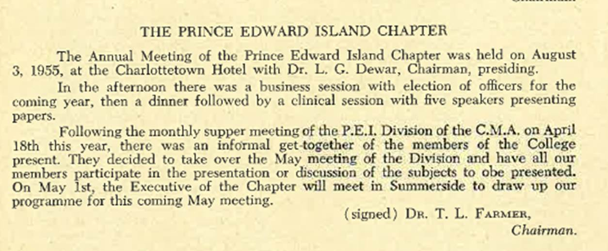 Premier rapport annuel, 1956