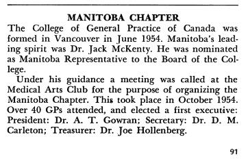 Dr Jack McKenty nommé représentant du Manitoba au conseil du Collège, 1954