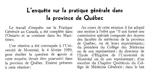 General Practice Inquiry, 1959
