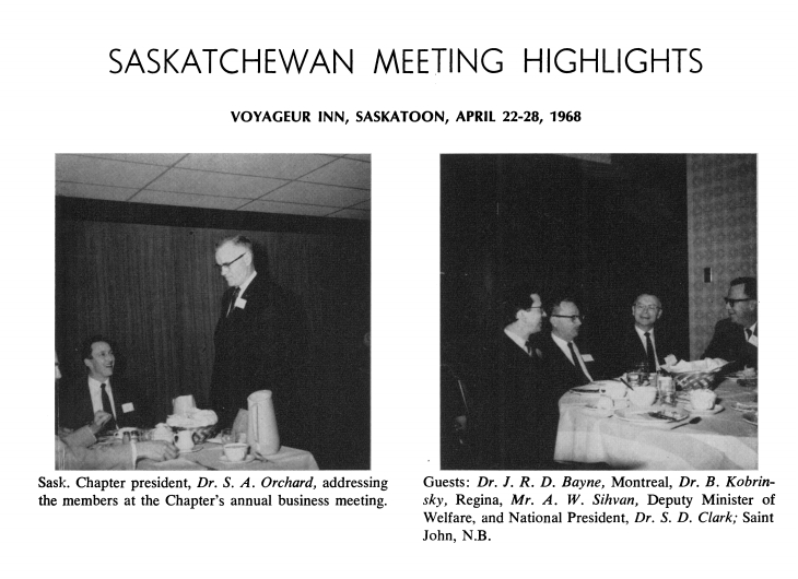 Saskatchewan Chapter meets in Regina April 1968