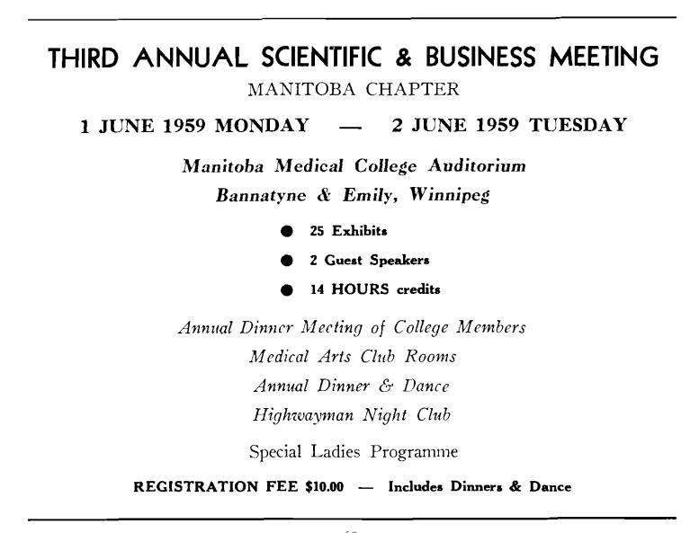 Third Annual Scientific & Business Meeting, June 1–2, 1959