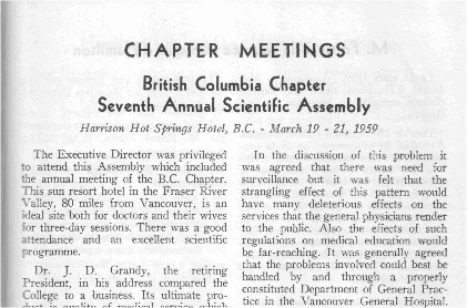 BC Chapter Seventh Annual Scientific Assembly, March 19–21, 1959