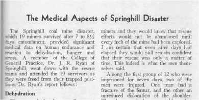Springhill coal mine disaster, 1959