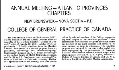 3e assemblée scientifique annuelle organisée conjointement avec les sections des provinces maritimes, 1967