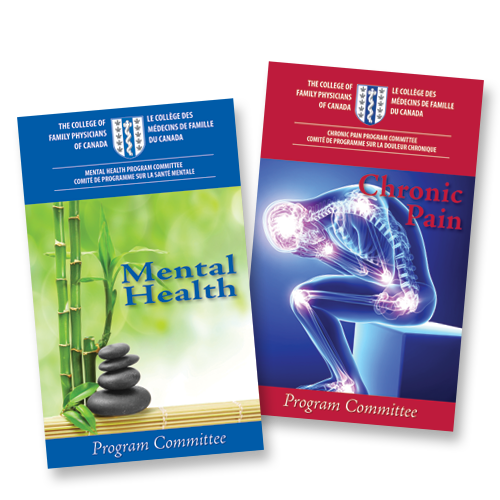 Image of two program booklets for mental health and chronic pain