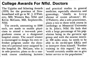 Drs W. J. O'Flaherty et Kevin McCann parmi les récipiendaires de prix en 1970