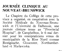 Clinical Day in New Brunswick, 1959