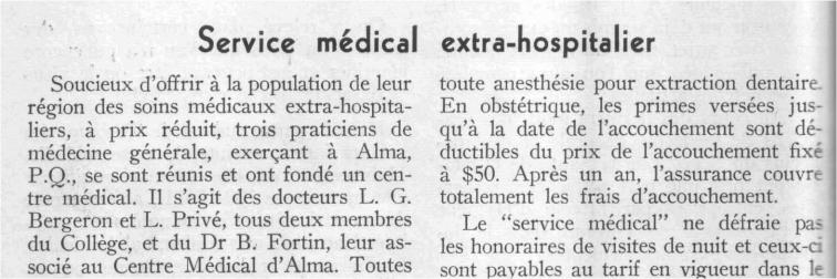 Non-hospital medical service, 1957