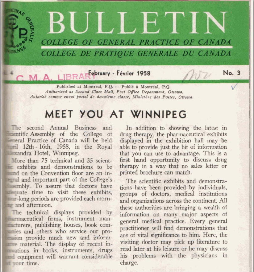 Second Annual Business and Scientific Assembly held April 12–16, 1958 in Royal Alexandra Hotel, Winnipeg