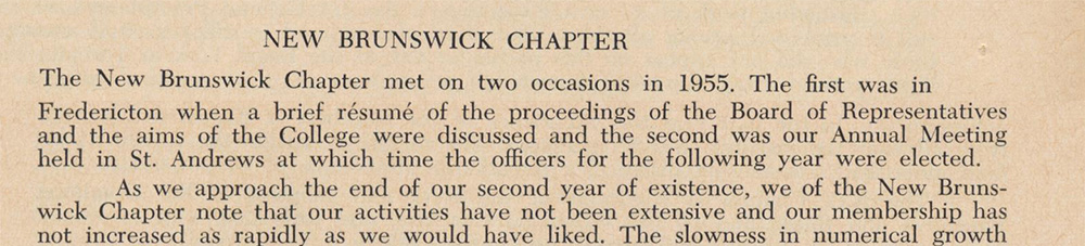 Report of the New Brunswick Chapter, 1956