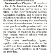 Chapter Office moves to a new location in Newfoundland Medical Association Building