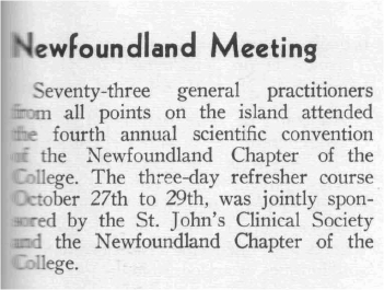 Fourth Annual Scientific Convention of the Newfoundland Chapter, 1959