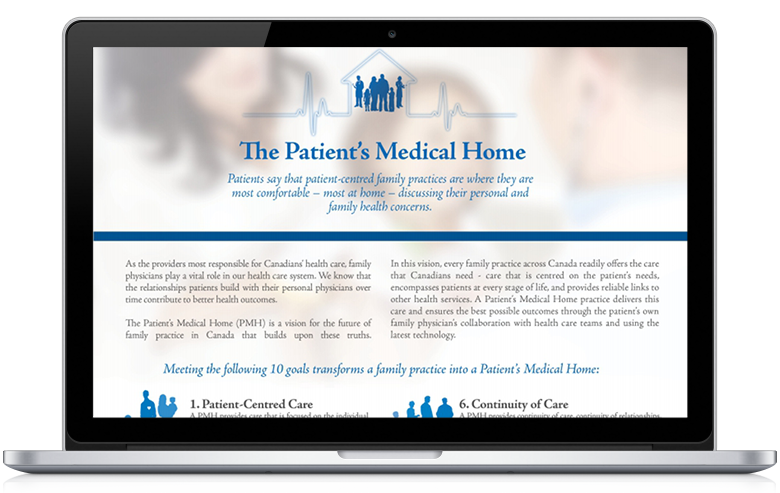 Image of a laptop with the Patient's Medical Home website on the screen