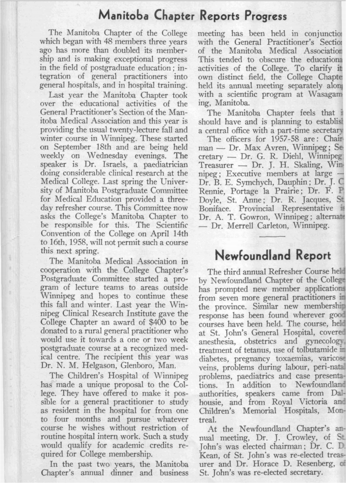 Report from Manitoba Chapter, 1957