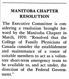 Manitoba Chapter Resolution, 1970
