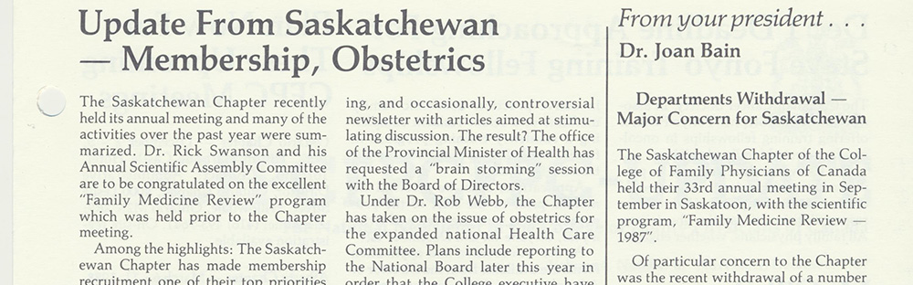 Saskatchewan Chapter reports on 1987