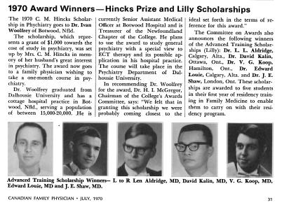 Dr Ivan Woolfrey de Botwood, récipiendaire de la bourse Hincks pour 1970