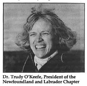 Présidente de la section de Terre-Neuve-et-Labrador, Dre Trudy O'Keefe, 1988